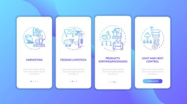 Agriculture machines types onboarding mobile app page screen with concepts. Products sorting and packaging walkthrough 4 steps graphic instructions. UI vector template with RGB color illustrations icon