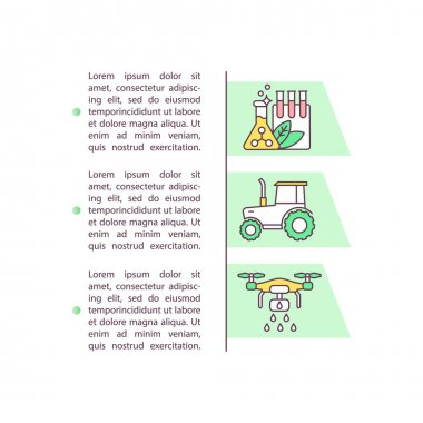 Agrichemicals and farm machinery concept icon with text. Pesticide, fertilizer. Agribusiness equipment. PPT page vector template. Brochure, magazine, booklet design element with linear illustrations icon