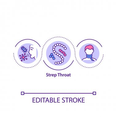 Strep throat concept icon. Dangerous bacteria for your health. Medical treatment of throat problems idea thin line illustration. Vector isolated outline RGB color drawing. Editable stroke icon
