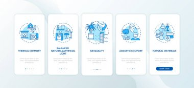 Comfortable home blue onboarding mobile app page screen with concepts. Natural, artificial light. Indoor space walkthrough 5 steps graphic instructions. UI vector template with RGB color illustrations icon