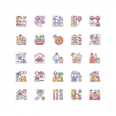 Food delivery RGB color icons set. Courier service. Online ordering for takeout. Limiting exposure to coronavirus. Salads, pizza, drinks. Fast-food options. Isolated vector illustrations icon