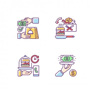Online food ordering RGB color icons set. Cash on delivery. Cooking-for-yourself thing. Delivery time. Gratuity charge. Advance payment. Pre-portioned ingredients. Isolated vector illustrations icon