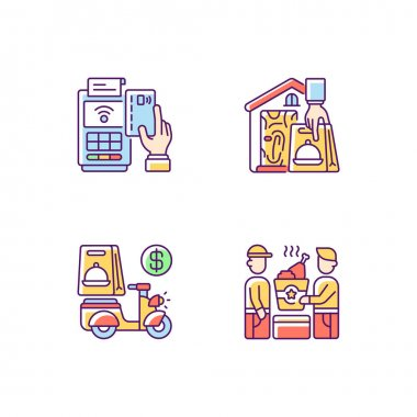 Meal delivery orders RGB color icons set. Cashless payment. Contactless, contact-free option. Delivery fee. Food pickup. Courier service. Financial transactions. Isolated vector illustrations icon