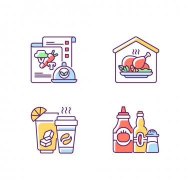 Online restaurant delivery RGB color icons set. Vegan menu. Home-cooked meals. Drinks and beverages. Condiments and sauces. Plant-based food. Hand-prepared dishes. Isolated vector illustrations icon