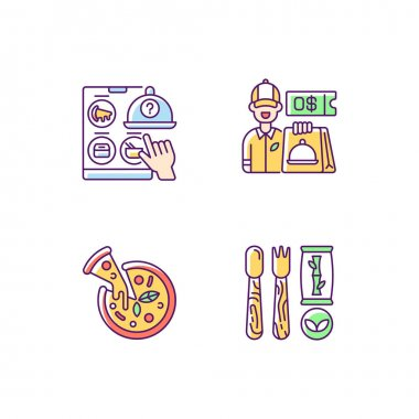 Restaurant delivery service RGB color icons set. Free delivery coupon. Choosing restaurant. Pizza. Disposable cutlery. Italian origin dish. Eco-friendly alternatives. Isolated vector illustrations icon
