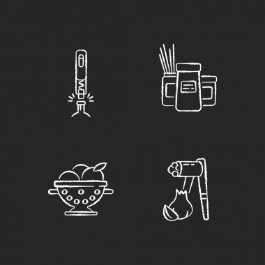Food preparation tools chalk white icons set on black background. Corkscrew for bottle. Kitchen storage containers. Colander to rinse fruits. Garlic press. Isolated vector chalkboard illustrations icon
