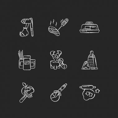 Food preparation utensils chalk white icons set on black background. Garlic press. Butter dish. Egg coddler. Kitchen tools. Household appliance for cooking. Isolated vector chalkboard illustrations icon