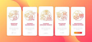 Business counseling tasks onboarding mobile app page screen with concepts. Changing employees mindsets walkthrough 5 steps graphic instructions. UI vector template with RGB color illustrations icon
