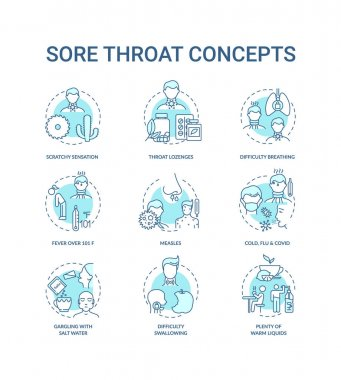 Sore throat concept icons set. Cold, flu and covid idea thin line RGB color illustrations. Gargling with salt water. Fever over 101 F. Vector isolated outline drawings. Editable stroke icon