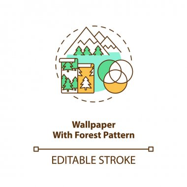 Wallpaper with forest pattern concept icon. Wall art with nature texture. House interior improvement. Biophilia idea thin line illustration. Vector isolated outline RGB color drawing. Editable stroke icon