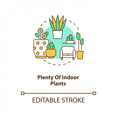 Plenty of indoor plants concept icon. Apartment gardening. Floral room. Comfortable interior. Biophilia idea thin line illustration. Vector isolated outline RGB color drawing. Editable stroke icon