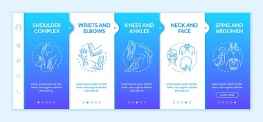 Kinesiotape onboarding vector template. Shoulder muscle complex. Physical health. Injury prevention. Responsive mobile website with icons. Webpage walkthrough step screens. RGB color concept icon