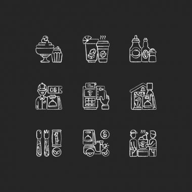 Delivery and takeout chalk white icons set on black background. Drinks and beverages. Condiments and sauces. Ready-made dishes. Cashless payment. Isolated vector chalkboard illustrations icon
