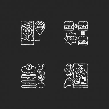 Delivering food to customer chalk white icons set on black background. Real-time order tracking. Special offers. Putting ingredients together. Isolated vector chalkboard illustrations icon
