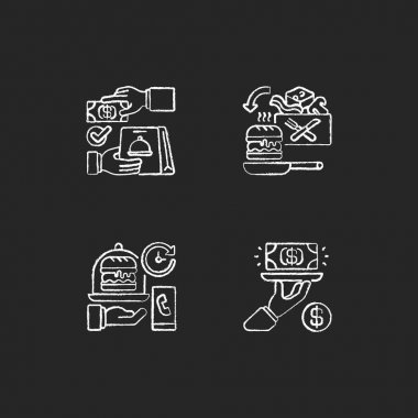 Online food ordering chalk white icons set on black background. Cash on delivery. Cooking-for-yourself thing. Delivery time. Gratuity charge. Isolated vector chalkboard illustrations icon