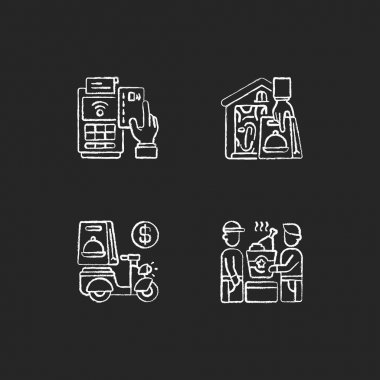Meal delivery orders chalk white icons set on black background. Cashless payment. Contactless option. Delivery fee. Food pickup. Courier service. Isolated vector chalkboard illustrations icon