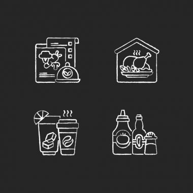 Online restaurant delivery chalk white icons set on black background. Vegan menu. Home-cooked meals. Drinks and beverages. Condiments and sauces. Isolated vector chalkboard illustrations icon