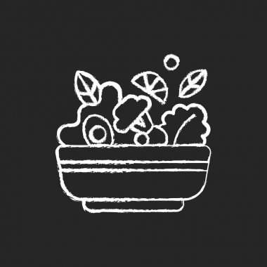 Salads chalk white icon on black background. Lunch and dinner delivery. Leafy greens and salad dressing. Fresh vegetables. Healthy food for vegans. Isolated vector chalkboard illustration icon
