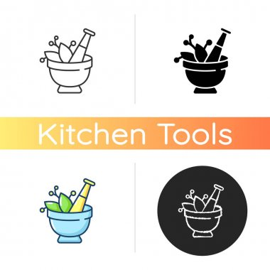 Mortar and pestle icon. Kitchen tool to mesh herbs. Cooking utensil to mix condiments. Food cooking. Seasoning preparation. Linear black and RGB color styles. Isolated vector illustrations icon