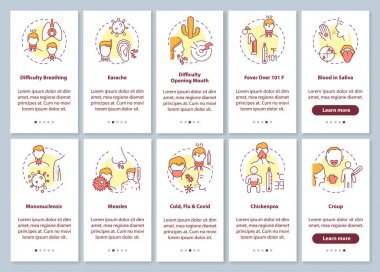 Sore throat complications onboarding mobile app page screen with concepts set. Infectious illness causes walkthrough 5 steps graphic instructions. UI vector template with RGB color illustrations icon