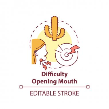 Difficulty opening mouth concept icon. Sore throat complication idea thin line illustration. Tonsils infected by bacteria and virus. Vector isolated outline RGB color drawing. Editable stroke icon