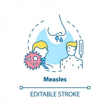 Measles concept icon. Viral sore throat cause idea thin line illustration. Highly contagious disease. Fever, cough, runny nose. Vector isolated outline RGB color drawing. Editable stroke icon