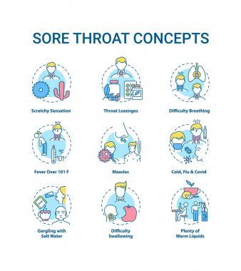 Sore throat concept icons set. Cold, flu and covid idea thin line RGB color illustrations. Scratchy sensation. Warm liquids. Difficulty breathing. Vector isolated outline drawings. Editable stroke icon