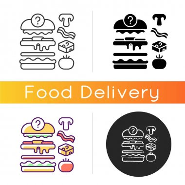 Food constructor icon. Setting meal preferences. Putting ingredients together. Building flavours. Collecting perfect dish. Linear black and RGB color styles. Isolated vector illustrations icon
