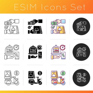 Delivering food to customer icons set. Cash on delivery. Delivery hours. Advance payment. Online ordering. Courier service. Linear, black and RGB color styles. Isolated vector illustrations icon