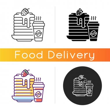 Breakfast meals icon. Prepared food. Pancakes and coffee. Well-balanced morning dishes. Brunch recipes. Caffeine beverages. Linear black and RGB color styles. Isolated vector illustrations icon