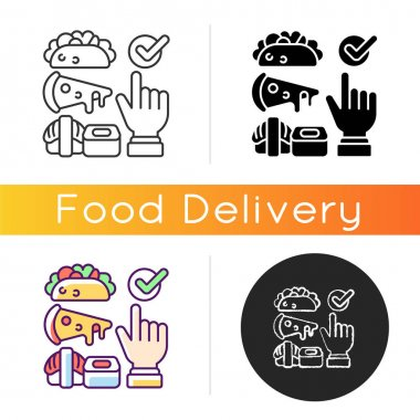 Choosing cuisine icon. Fast-food options. Burritos, tacos. Asian cuisine. Sushi and ramen. Junk foods. Chinese meals. Linear black and RGB color styles. Isolated vector illustrations icon
