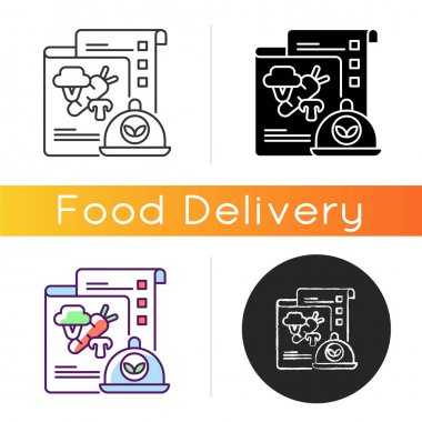 Vegan menu icon. Plant-based dishes. Non-meat-eater. Healthy meals. Vegetarian foods, seasonal ingredients. Dietary options. Linear black and RGB color styles. Isolated vector illustrations icon