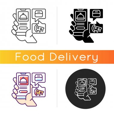 Food delivery app icon. Menu online. Easy payment. Ordering takeout during lockdowns and quarantines. Estimated time and distance. Linear black and RGB color styles. Isolated vector illustrations icon