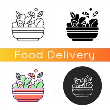 Salads icon. Lunch and dinner delivery. Leafy greens and salad dressing. Fresh vegetables. Healthy all-natural food for vegans. Linear black and RGB color styles. Isolated vector illustrations icon
