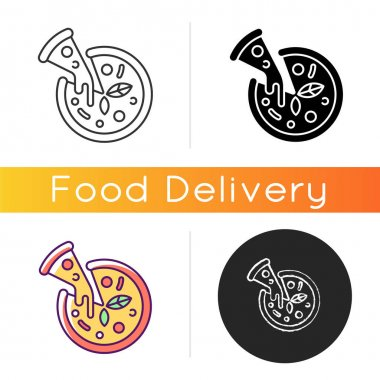 Pizza icon. Prepared food. Italian origin dish. Junk foods. Dough, tomato sauce and mozzarella toppings. Tasty cheese pie. Linear black and RGB color styles. Isolated vector illustrations icon
