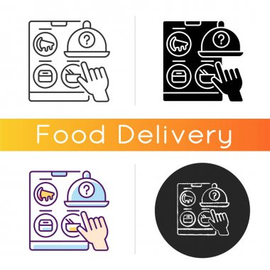Choosing restaurant icon. Online food delivery. Ready-made meals. Takeout from national chains and local favorites. Virtual restaurant. Linear black and RGB color styles. Isolated vector illustrations icon