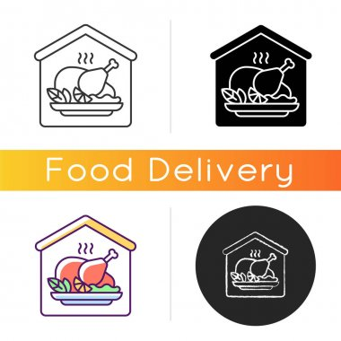 Home-cooked meals icon. Dinner foods. Hand-prepared dishes. Home taste. Homestyle ingredients. Roast chicken, turkey recipes. Linear black and RGB color styles. Isolated vector illustrations icon