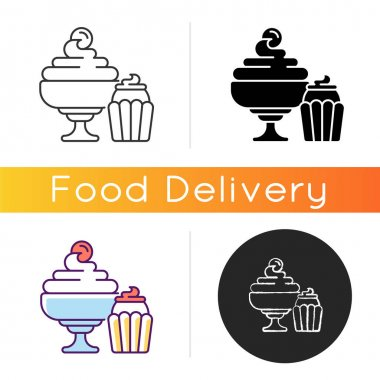 Desserts icon. Biscuits, cakes, cookies. Ice cream and frozen yogurt. Confections. Whipped cream. High-fat, high-sugar foods. Linear black and RGB color styles. Isolated vector illustrations icon
