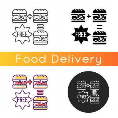 Special offers icon. Food delivery discounts, coupons and deals. Free and reduced-price offers. Exclusive promo code. Linear black and RGB color styles. Isolated vector illustrations icon