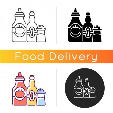 Condiments and sauces icon. Tabasco sauce. Chilli peppers. Mexican recipes. Ketchup, salt, spice, mustard. Adding flavor to food. Linear black and RGB color styles. Isolated vector illustrations icon