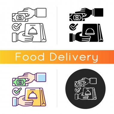 Cash on delivery icon. Advance payment. Meals and drinks delivery from local restaurants. Courier service. Online ordering for takeout. Linear black and RGB color styles. Isolated vector illustrations icon