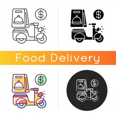 Delivery fee icon. Courier service. Online ordering. Collecting money from consumers. Cashless payment. Paying online. Linear black and RGB color styles. Isolated vector illustrations icon