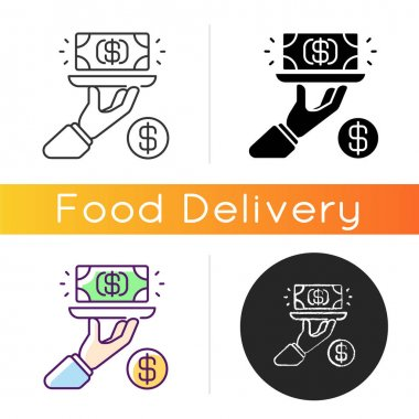 Service fee icon. Gratuity charge. Catered functions. High quality waiter, waitress. Dining establishments. Service charges. Linear black and RGB color styles. Isolated vector illustrations icon