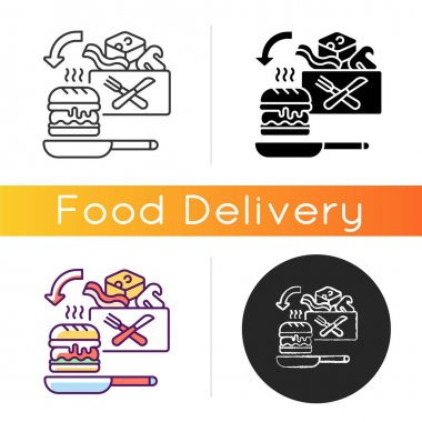 Meal kit delivery icon. Restaurant-quality meals at home. Cooking-for-yourself thing. Pre-portioned ingredients. Meal-prep. Linear black and RGB color styles. Isolated vector illustrations icon