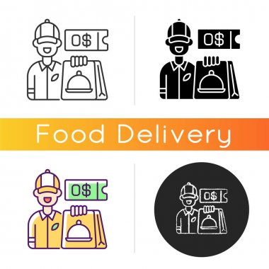 Free delivery coupon icon. Exclusive promo code. Restaurant orders. Contactless breakfast, lunch and dinner delivery. Free servicing. Linear black and RGB color styles. Isolated vector illustrations icon