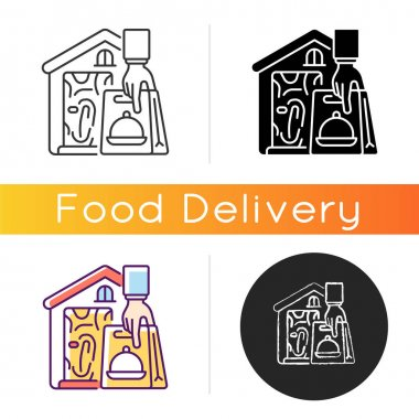 No-contact food delivery icon. Contactless, contact-free option. Social distancing rule. Limited personal interaction. Courier service. Linear black and RGB color styles. Isolated vector illustrations icon