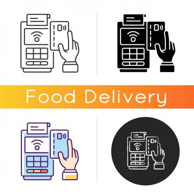 Cashless payment icon. Paying online. Collecting cash from customers. Financial transactions. Delivery-only, virtual restaurant. Linear black and RGB color styles. Isolated vector illustrations icon