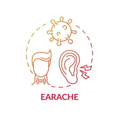 Earache concept icon. Sore throat complication idea thin line illustration. Sharp, dull and burning pain. Hearing loss. Outer and middle ear infections. Vector isolated outline RGB color drawing icon