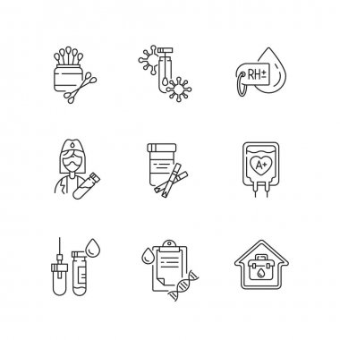 Medical diagnosis linear icons set. Clinical examination. Blood test. Polymerase chain reaction check. Customizable thin line contour symbols. Isolated vector outline illustrations. Editable stroke icon