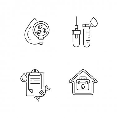 Blood check linear icons set. Analyze fluid for illness. Tube with needle. Home doctor call. Customizable thin line contour symbols. Isolated vector outline illustrations. Editable stroke icon